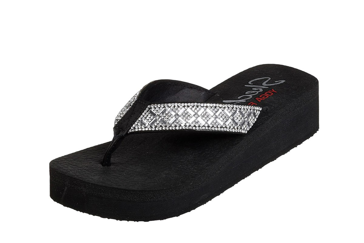 76e11334f93 Skechers Vinyasa Lotus Princess Black Silver Diamante Low Wedge Comfort  Flip Flops Sandals