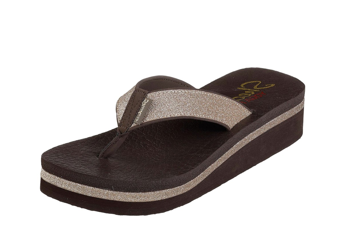 Skechers Vinyasa Unicorn Mist Chocolate Brown Glitter Low Wedge Sandals Flip Flops