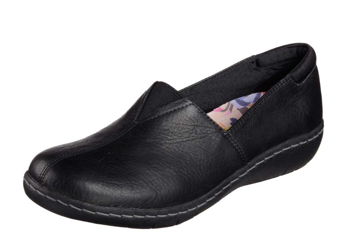d4363f28fc5 Skechers Washington Seattle Black Leather Low Heel Women s Loafer Shoes -  KissShoe