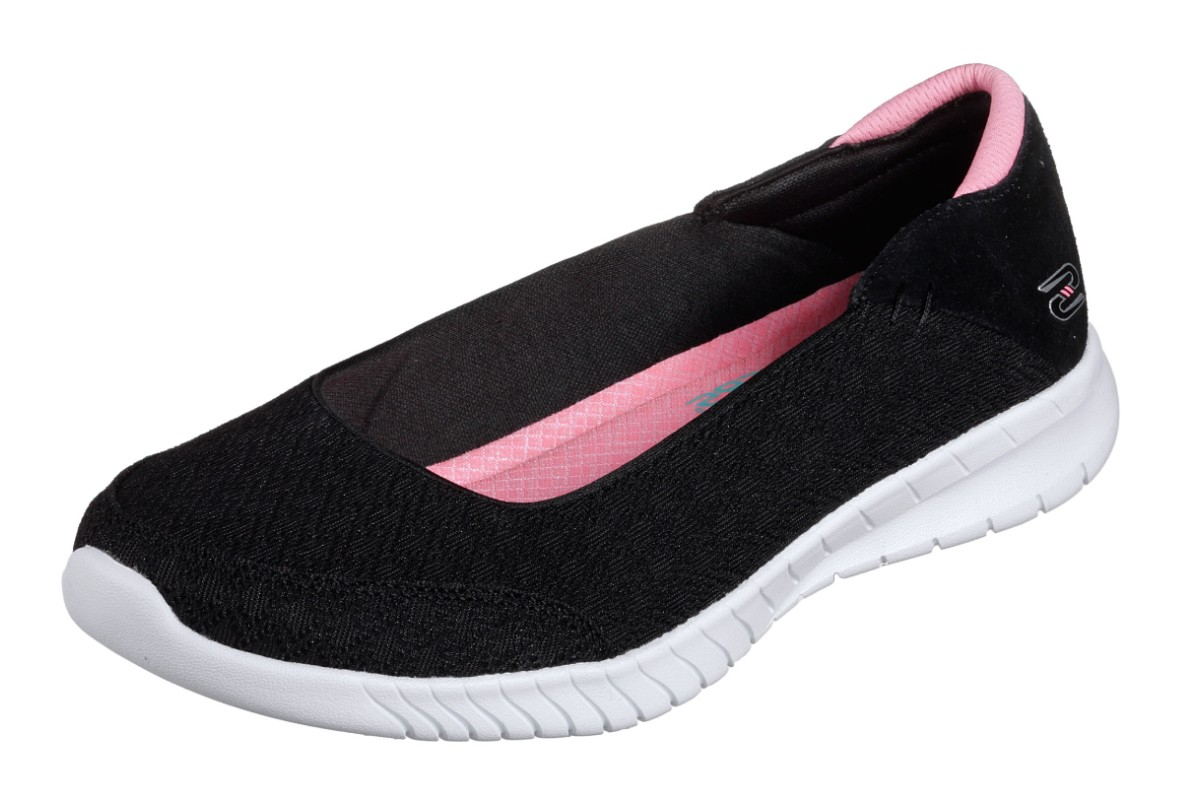 Skechers Wave Lite Don't Mention It Black Pink Memory Foam Comfort Ballet Shoes