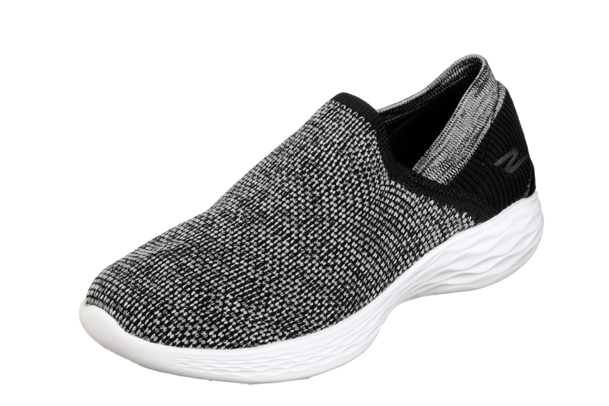 Skechers You Rise Black White Slip On Women's Comfort Shoes