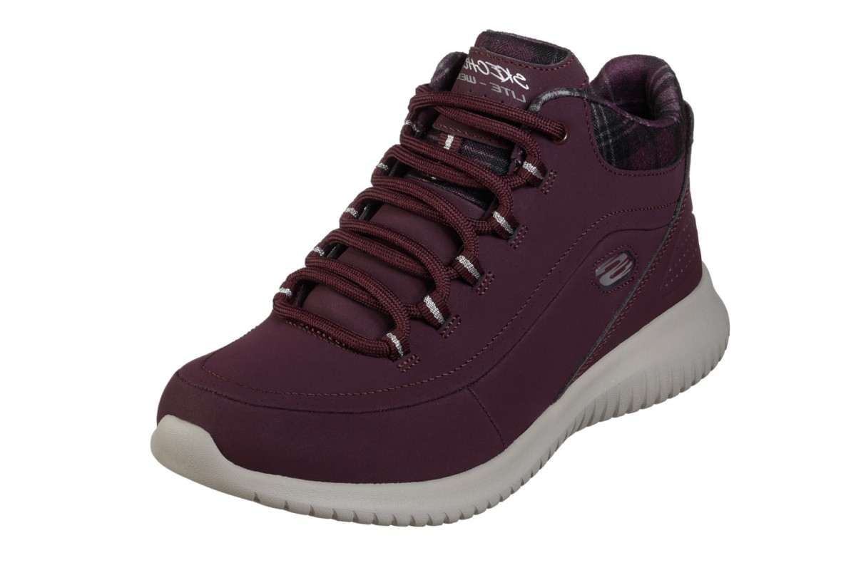 Skeches Ultra Flex Just Chill Burgundy Lace Up Memory Foam High Top rainers