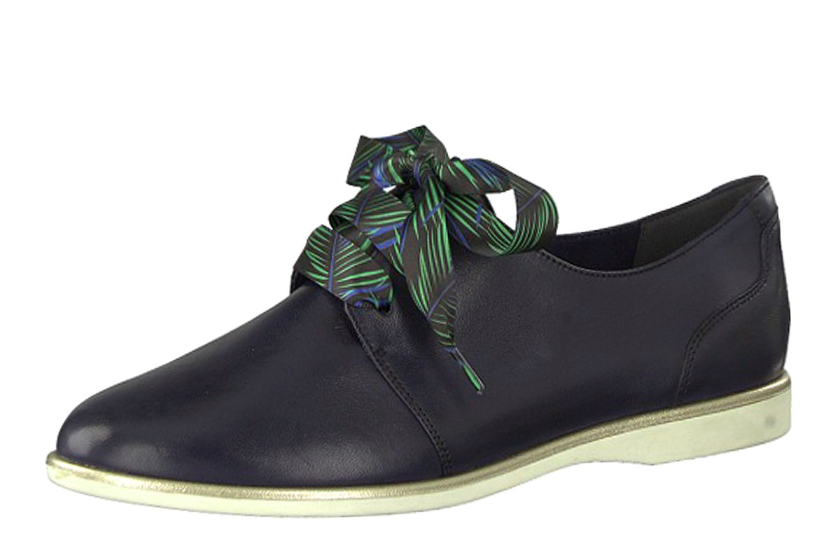 Tamaris 23209 Navy Leather Ribbon Lace Up Flat Women's Oxford Shoes
