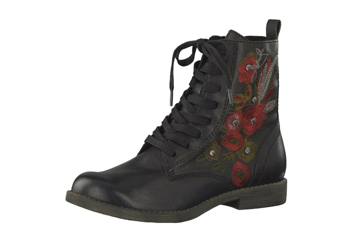 Tamaris 25114 Black Red Floral Embroidered Lace Up Flat Ankle Boots