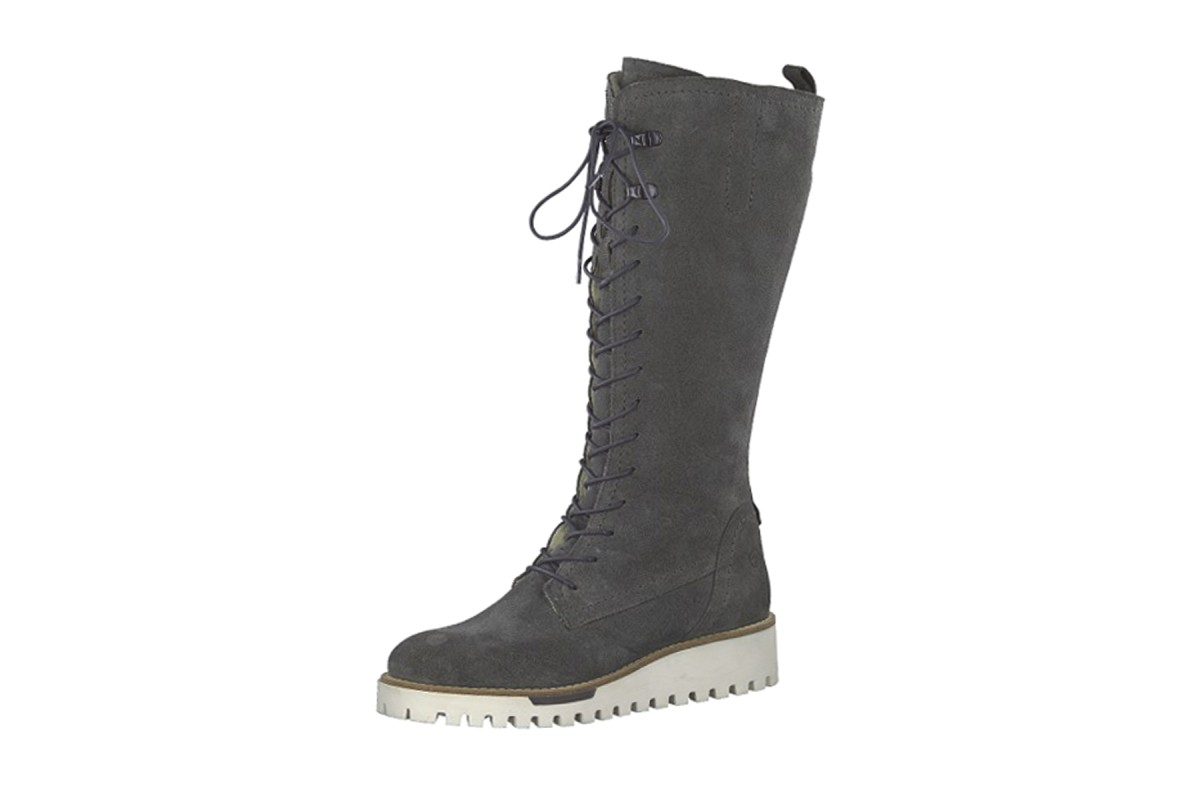 3e126aef35c6 Tamaris 26660 Graphite Grey Suede Lace Up Low Wedge Heel Knee Boots -  KissShoe