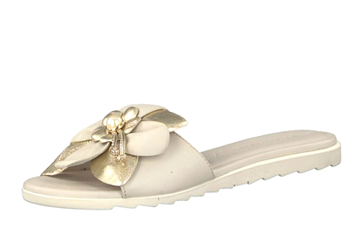 Tamaris 27128 Ivory Comb Metallic Flower Flat Leather Slide Sandals
