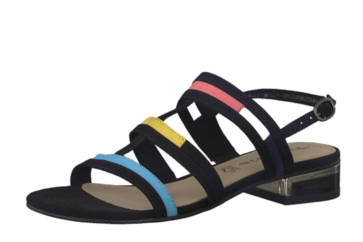 9c33b4f8f Tamaris 28213 Black Faux Suede Low Heel Multi Strap Sandals - KissShoe