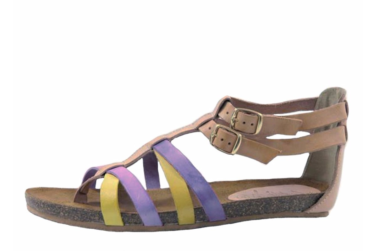 Vaquetillas 1158223 Cross Strap Flat Leather Sandals Natural