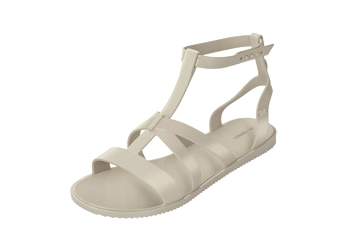 Zaxy Dual Ivory Ankle Strap T Bar Women's Flat Sandals