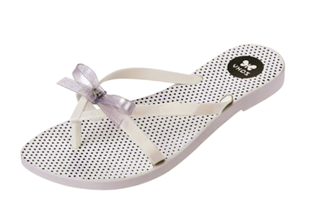 Zaxy Fresh Bow White Glitter Polka Dot Flip Flop Sandals