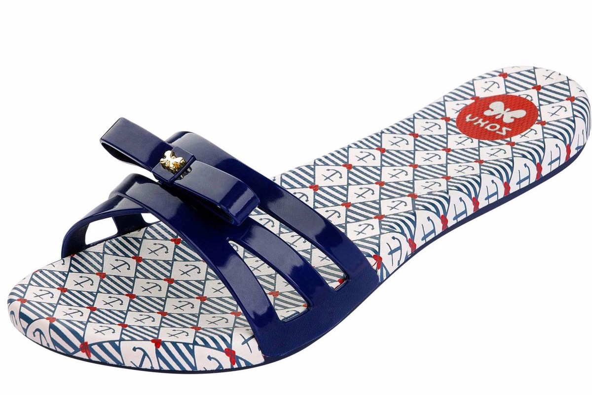 Zaxy Like Slide Navy Blue White Anchor Print Flip Flops Sandals