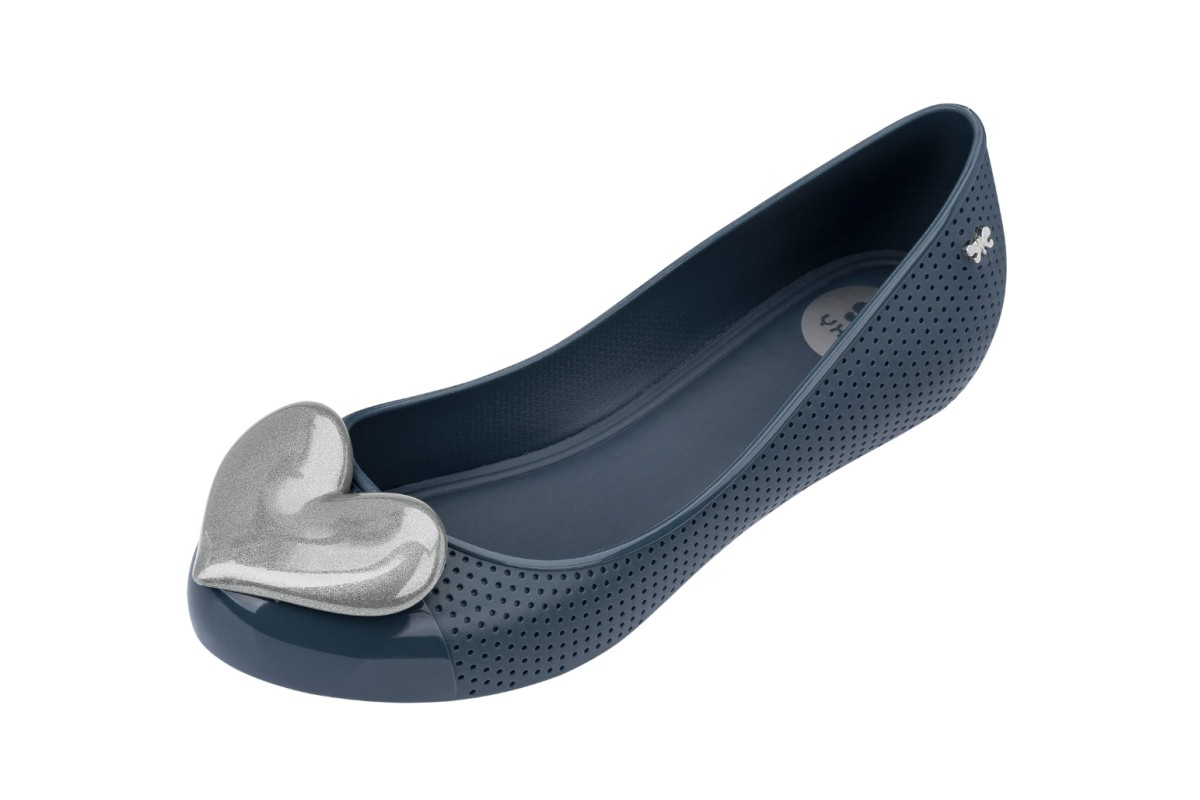 Zaxy Pop Beauty Navy Contrast Heart Flat Ballet Shoes