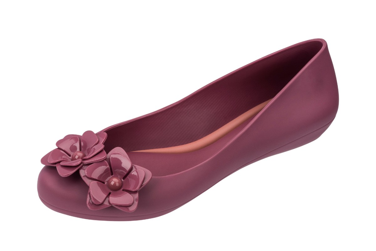 Zaxy Pop Flower Pearl Plum Purple Flat Ballet Shoes
