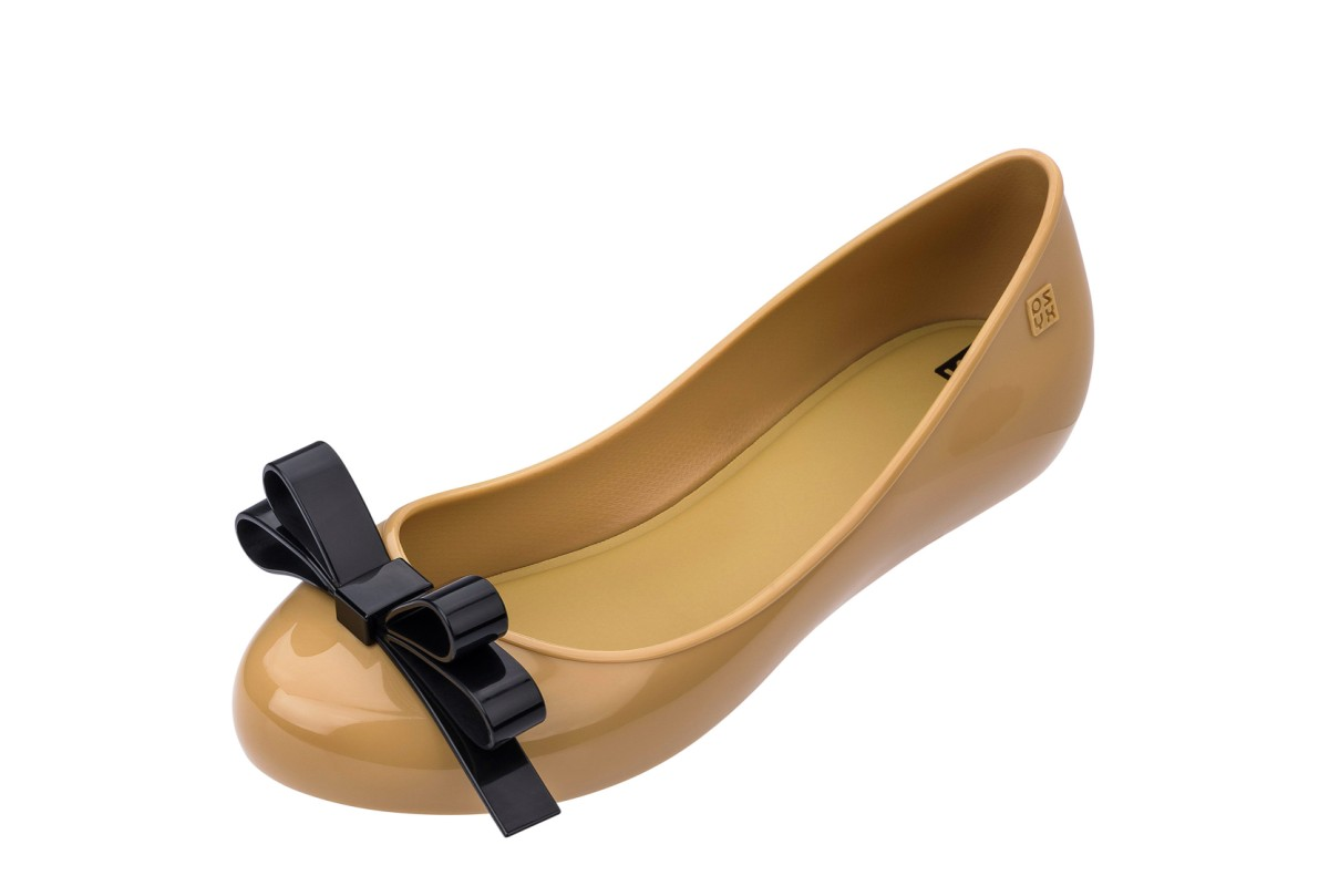Zaxy Pop Lovely Camel Contrast Bow Flat Ballet Shoes