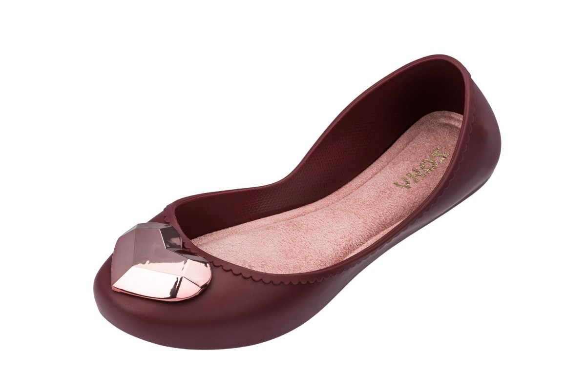 Zaxy Start Metallic Rose Gold Heart Plum Burgundy Flat Ballet Shoes