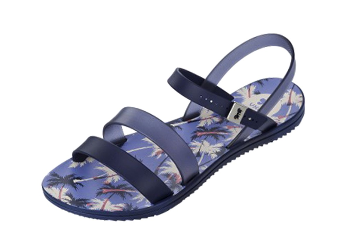 Zaxy Urban 2 Navy Palm Trees Women's Flat Sandals