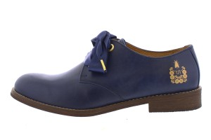a81498f536b Fly London Cristina Rodrigues Dwell 04 Blue Navy Leather Lace Up Oxford  Flat Shoes