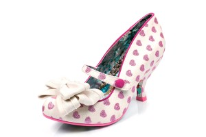 87fd0b83d5a £94.99 £74.99 · Irregular Choice Love Is In The Air While Pink Glitter  Heart Mid Heel Shoes
