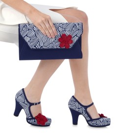 Ruby Shoo Tanya Navy/White Shoes and Naples Bag